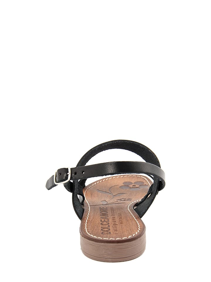 Dolceamore Leder-Sandalen in Schwarz
