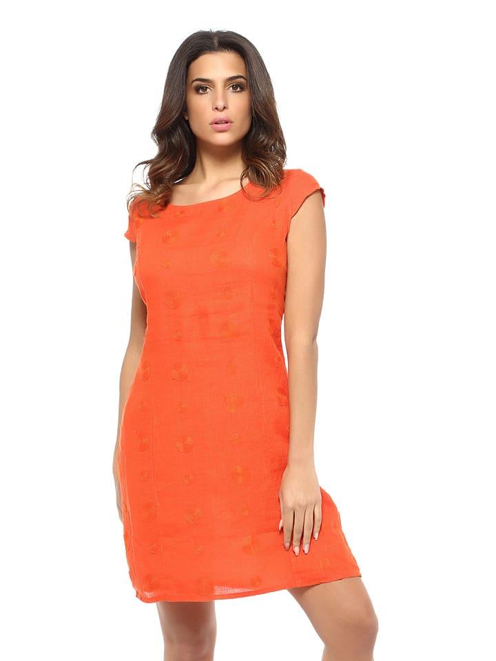 PRETTY Leinen Kleid Orange LIN in LIN PRETTY aCUaq