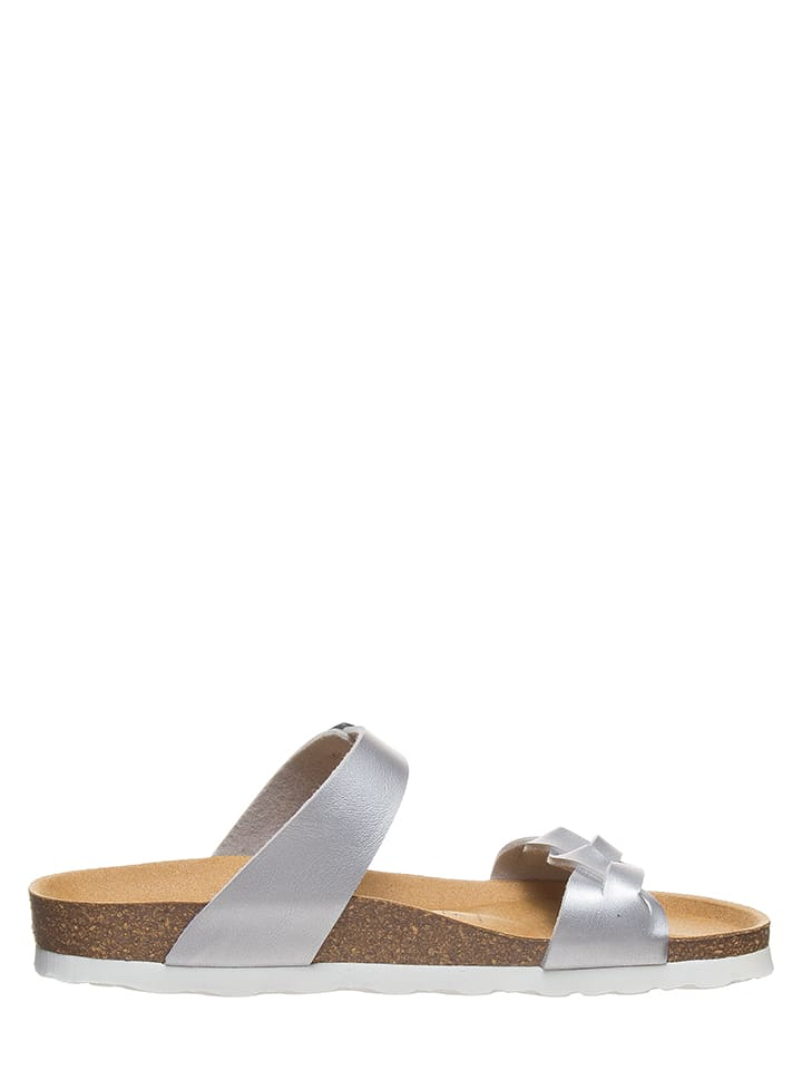 BACKSUN Leder-Pantoletten in Silber