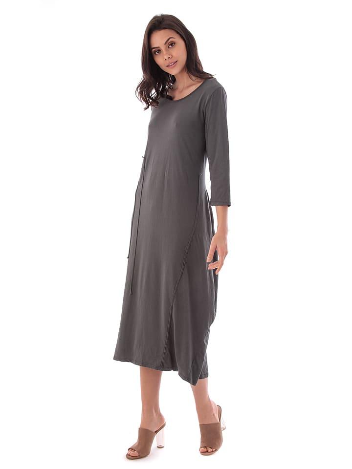100% Coton Kleid in Grau