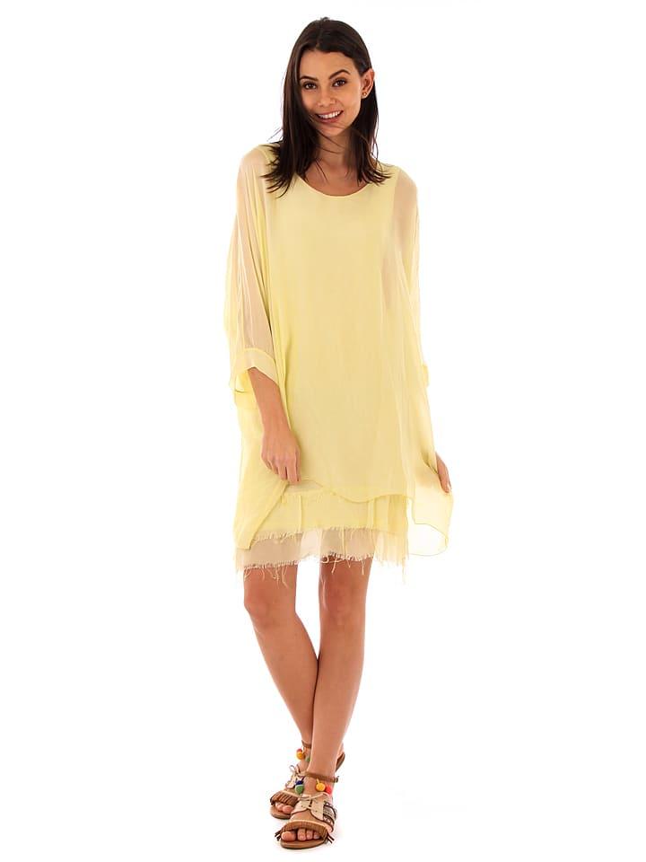 100% Soie Seiden-Kleid in Gelb