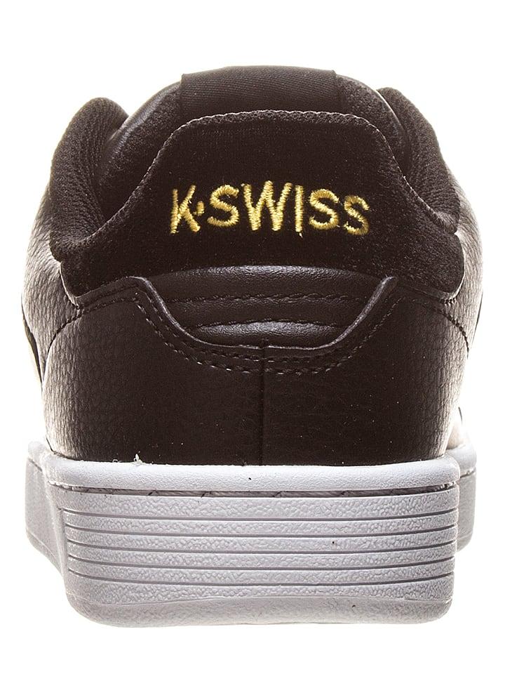 """K-SWISS Leder-Sneakers """"Clean Court"""" in Schwarz/ Gold"""