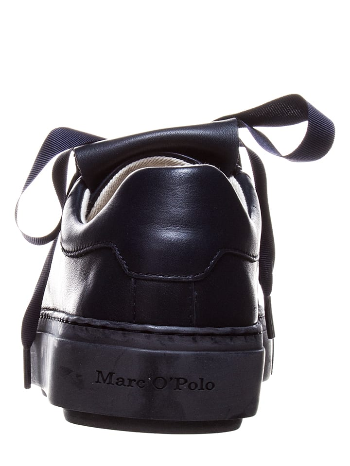 Marc O'Polo Shoes Leder-Sneakers in Dunkelblau/ Schwarz