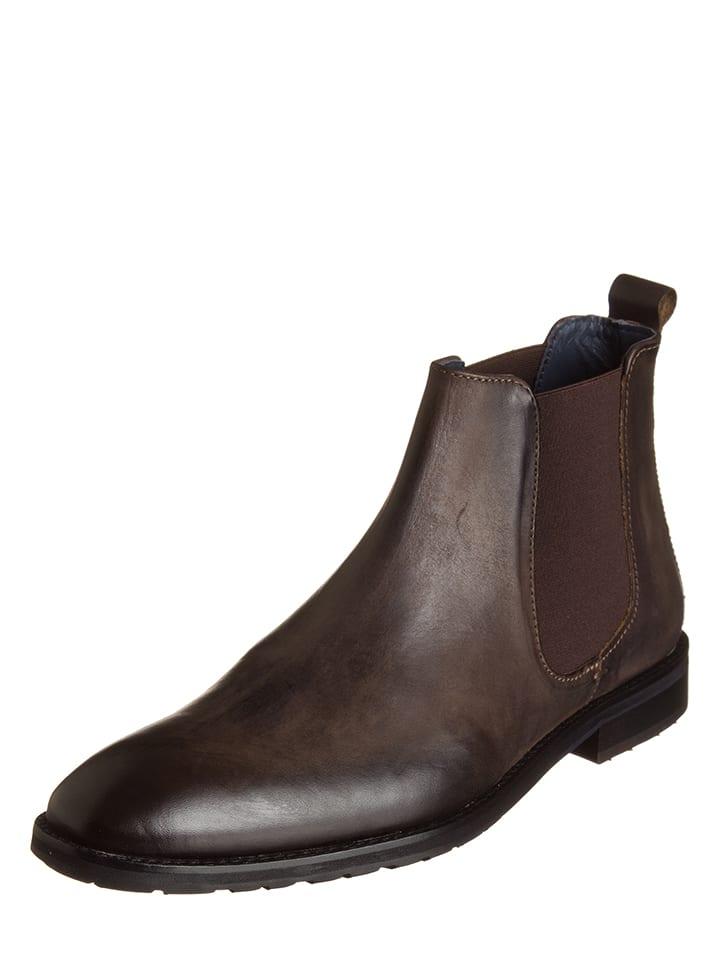 Leder Chelsea Boots in Braun