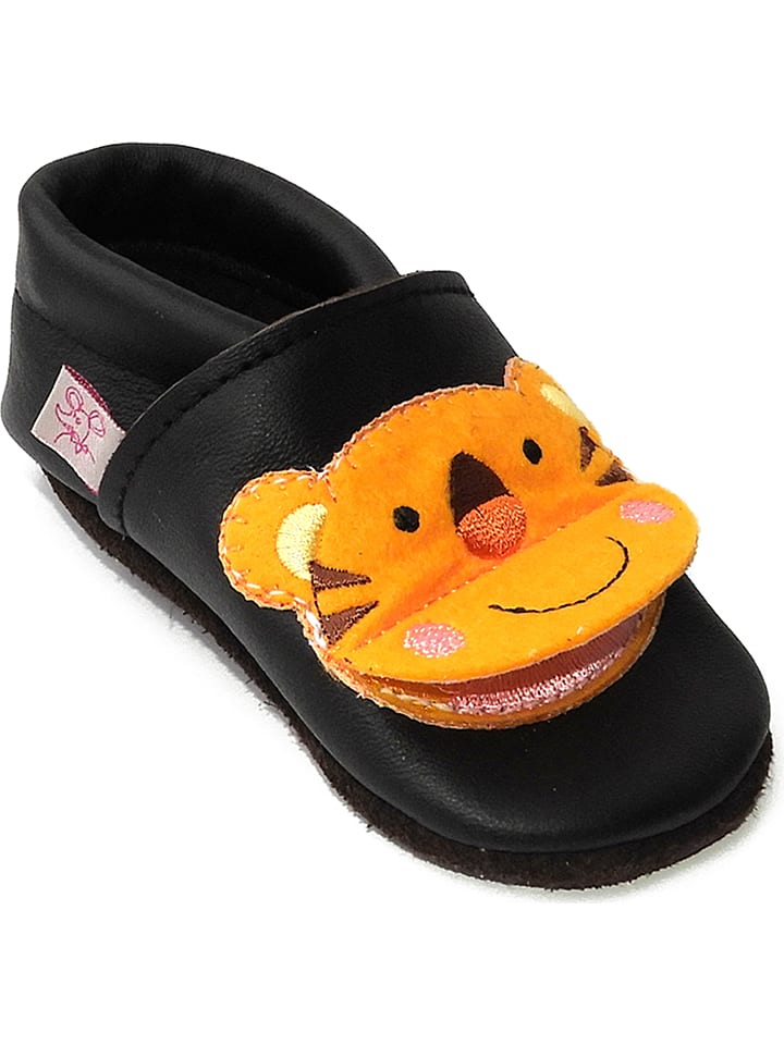 sports shoes 71f3e eb16a Leder-Krabbelschuhe in Braun/ Orange