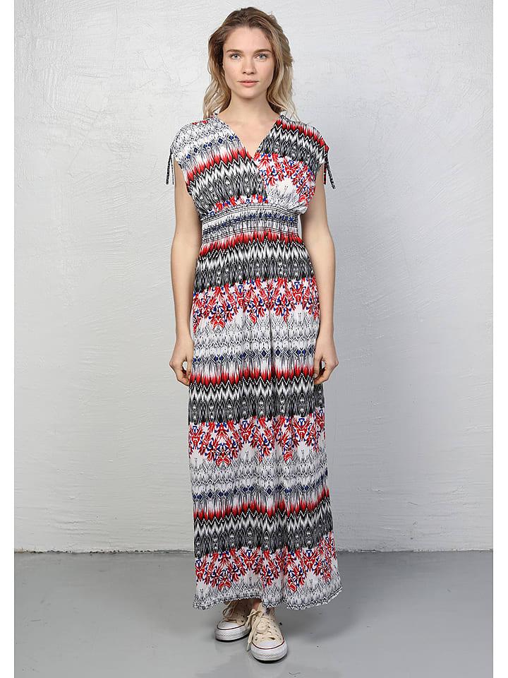 buy online 2ac5d da287 Maxi-Kleid in Schwarz/ Weiß/ Rot