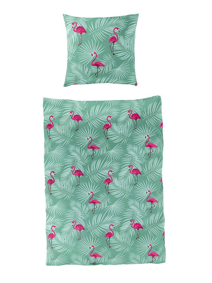 Bierbaum Seersucker Bettwäsche Set In Grün Pink Günstig Kaufen