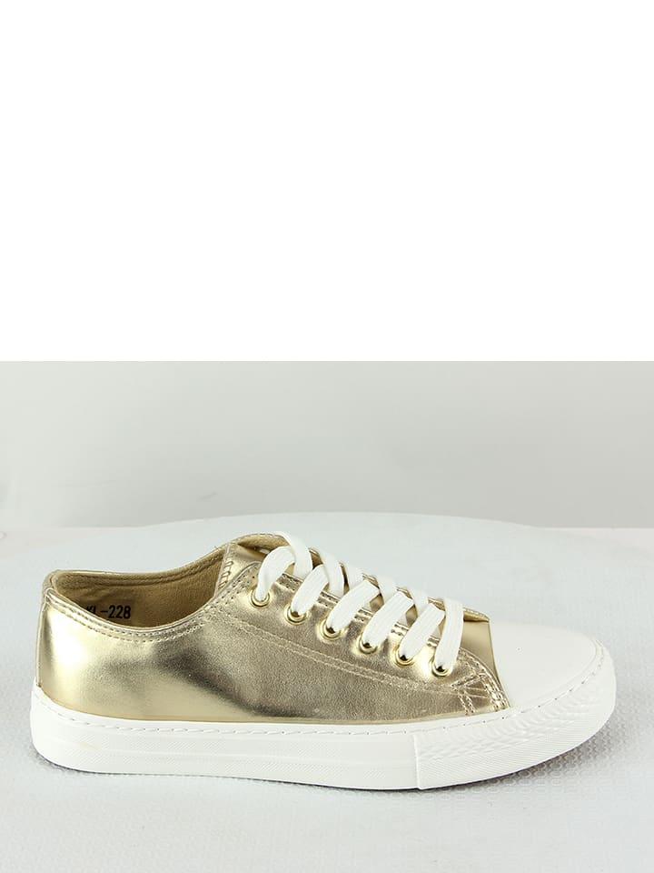 Sneakers in Gold Weiß