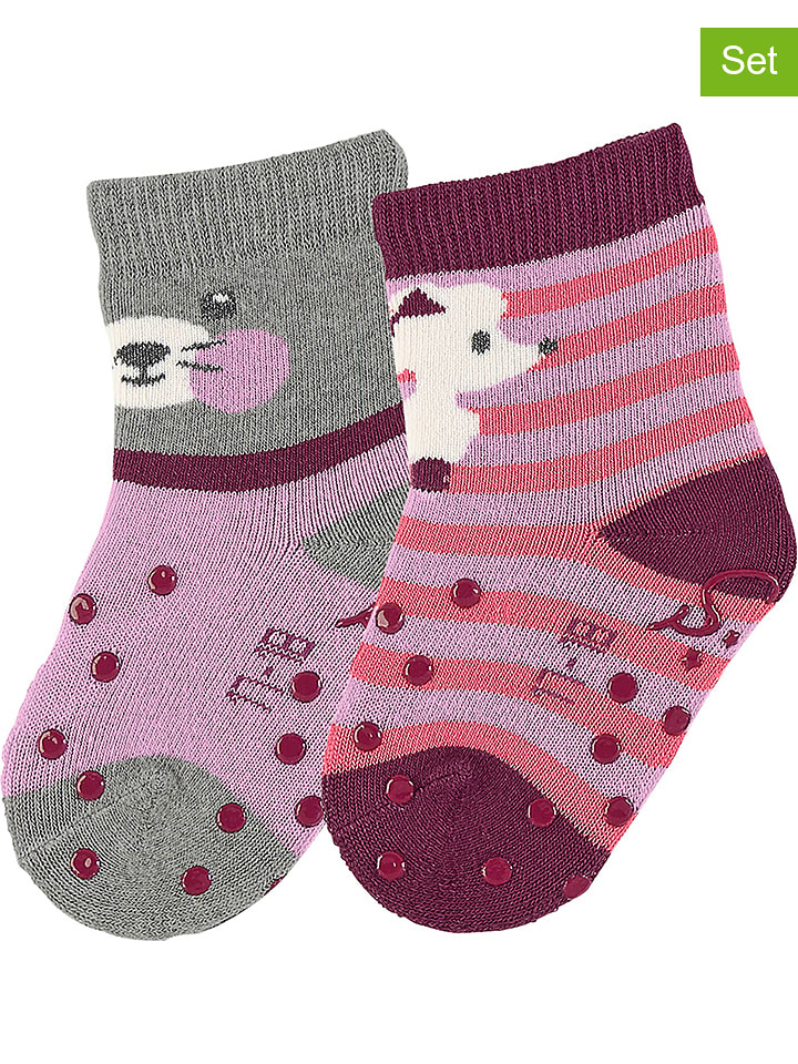 2er Set: ABS Socken in Grau Rosa