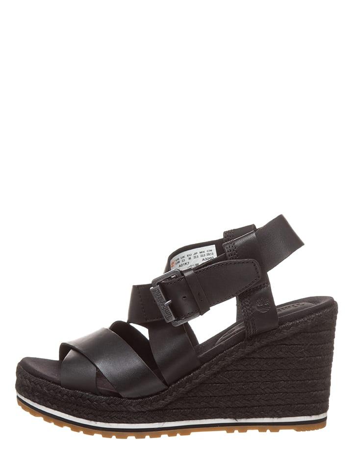 Sandalettes compensées en cuir