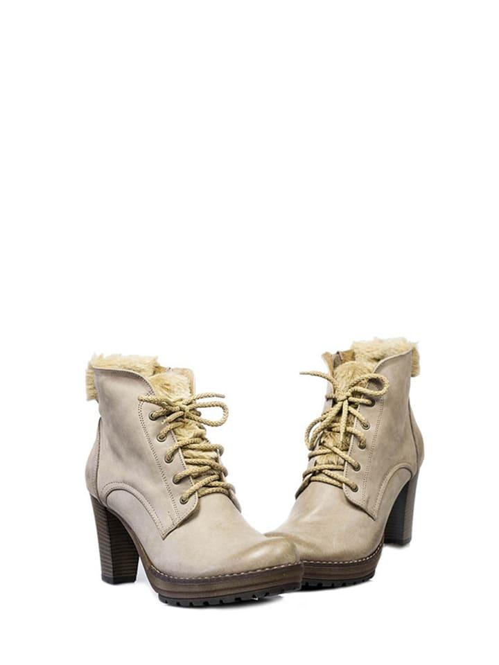 Zapato Skórzane botki w kolorze cappuccino