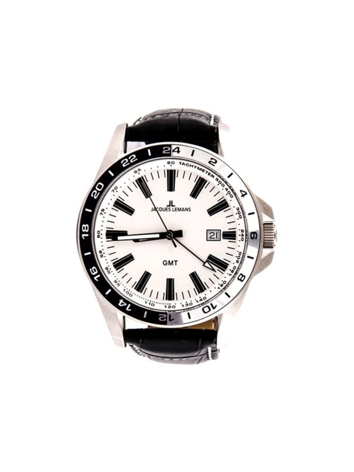 """Jacques Lemans Zegarek """"1-1328B""""  w kolorze czarno-białym"""