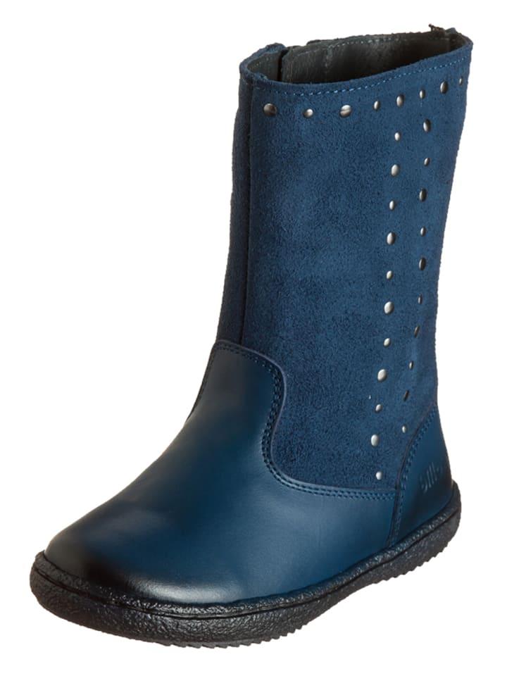 Billowy Leren laarzen blauw