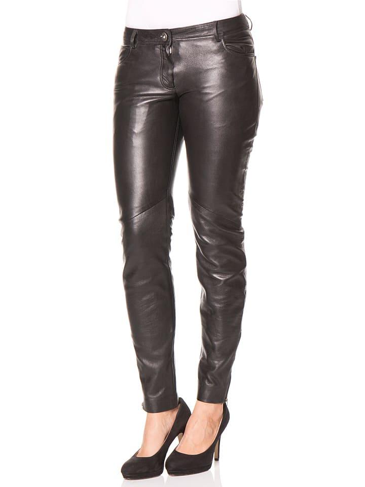 8add07ce Skórzane spodnie w kolorze czarnym - HELium - Wyprzedaż w Outlet Limango