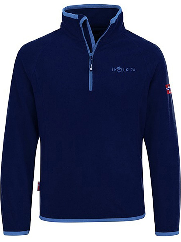 """Trollkids Fleece trui """"Nordland"""" donkerblauw/lichtblauw"""