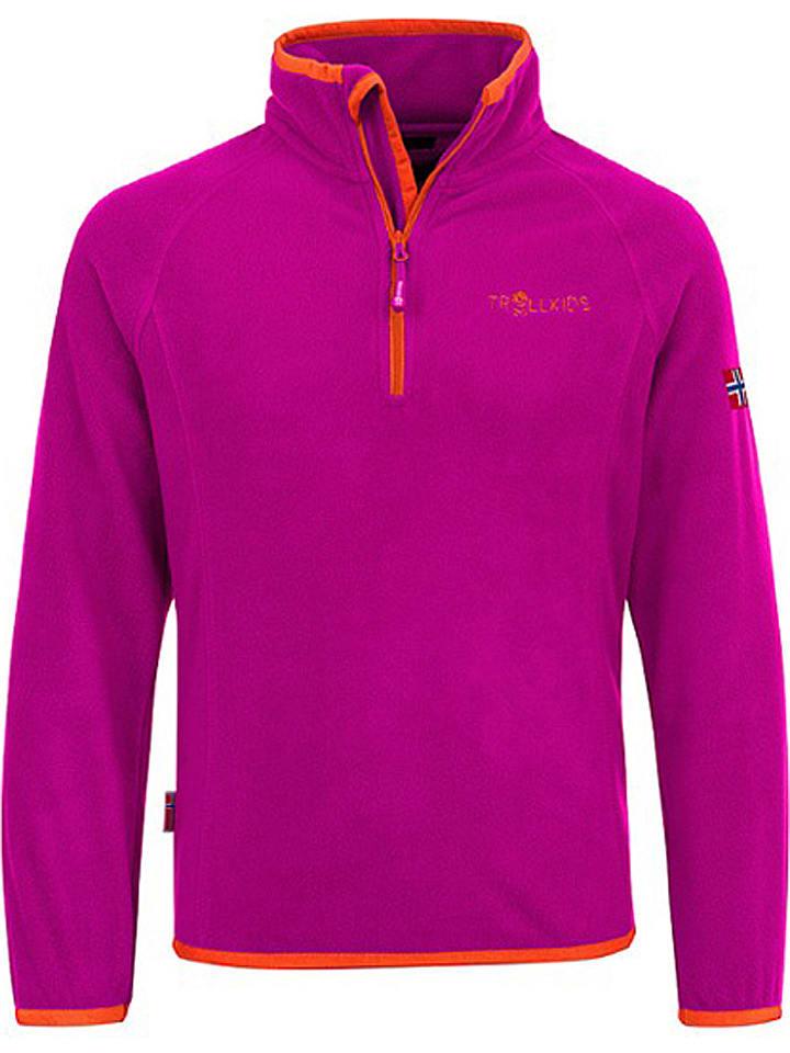 "Trollkids Fleece trui ""Nordland"" roze/oranje"
