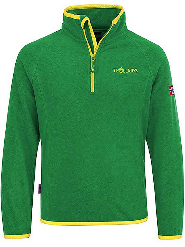 "Trollkids Fleece trui ""Nordland"" groen/geel"