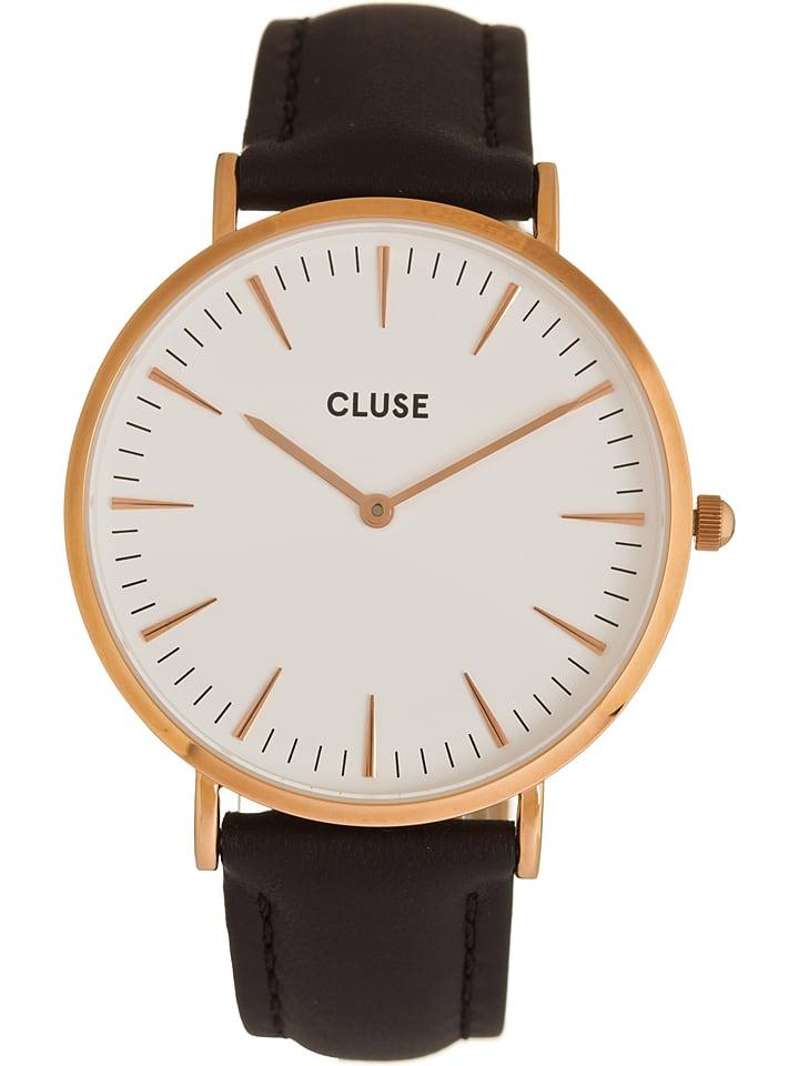 """CLUSE Zegarek kwarcowy """"La Bohème"""" w kolorze czarno-biało-różowozłotym"""
