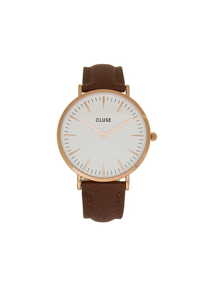 """CLUSE Zegarek kwarcowy """"La Bohème"""" w kolorze brązowo-biało-różowozłotym"""