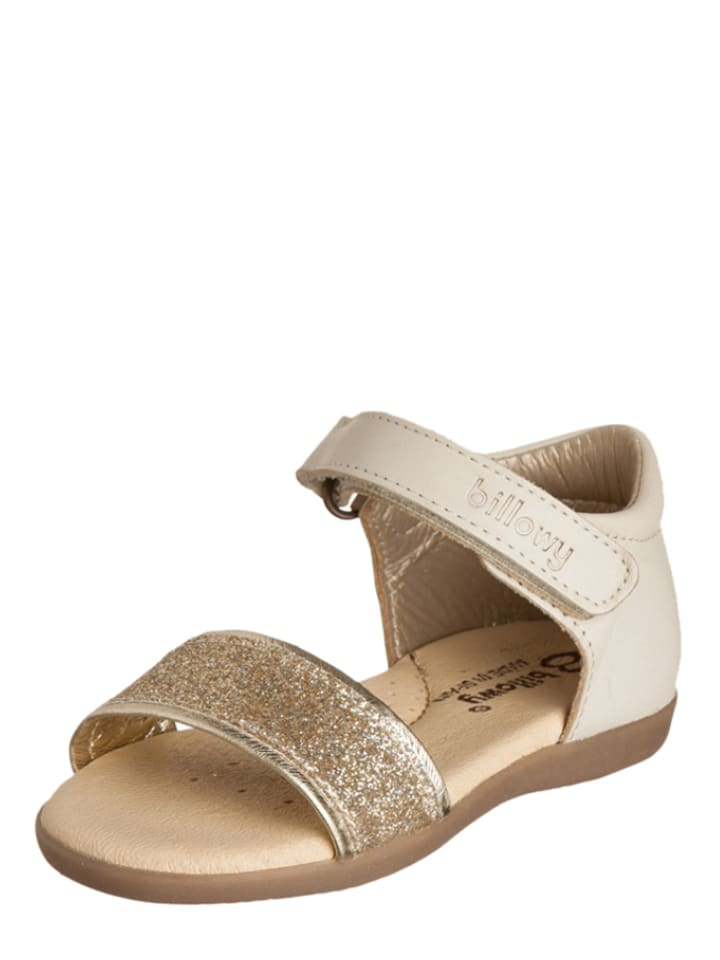 Billowy Leder-Sandalen in Gold