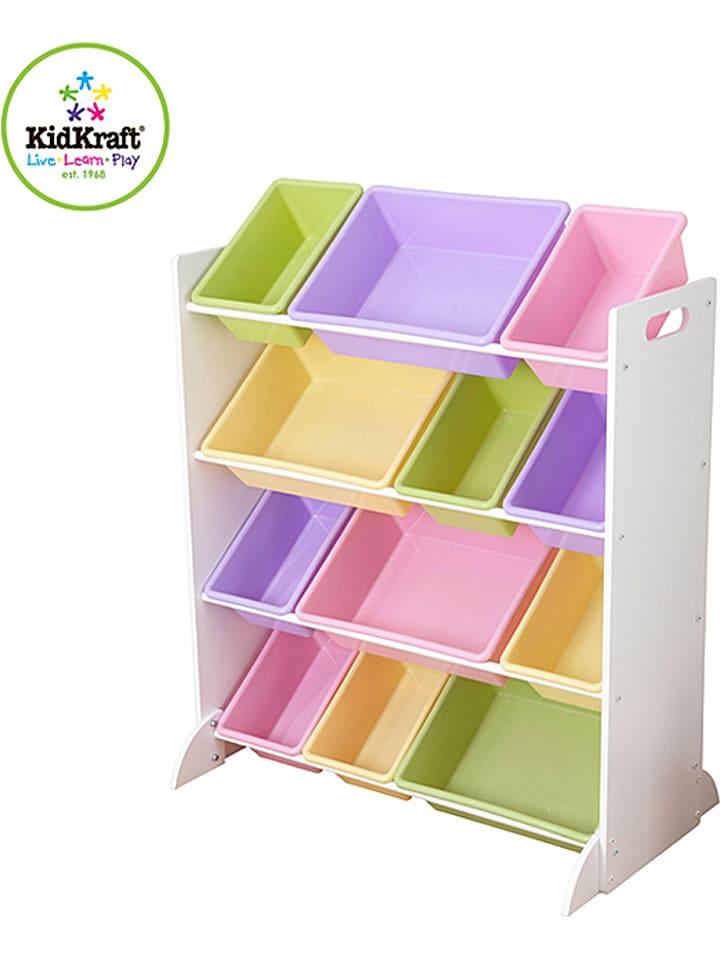 KidKraft Regał w kolorze białym ze wzorem na zabawki - 83 x 92 x 48 cm