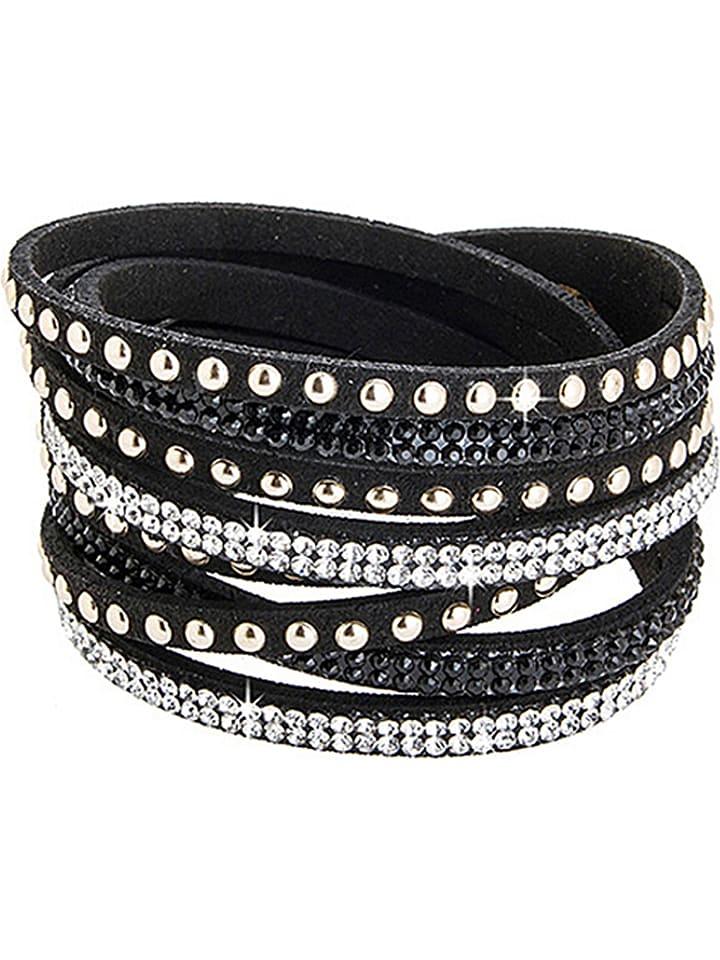 Destellos Skórzana bransoletka w kolorze czarnym z kryształkami Swarovski