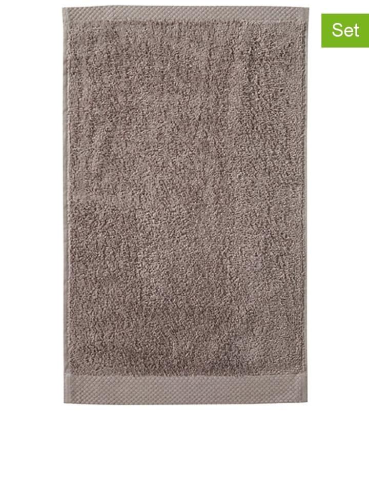 """Damai 3-delige set: handdoeken """"Pure"""" lichtbruin"""