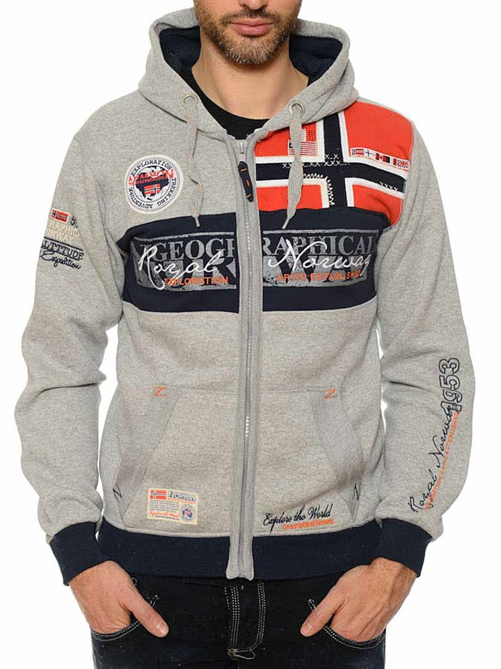 "Geographical Norway Sweatvest ""Flyer"" grijs"