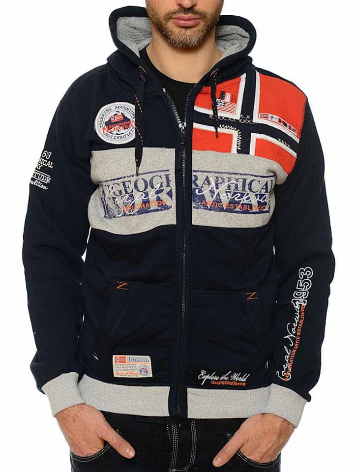 """Geographical Norway Vest met capuchon """"Flyer"""" donkerblauw"""
