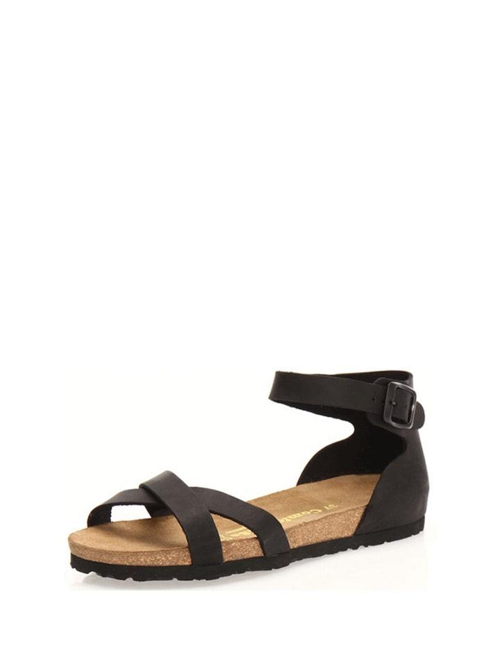 Comfortfusse Leder-Sandalen in Schwarz
