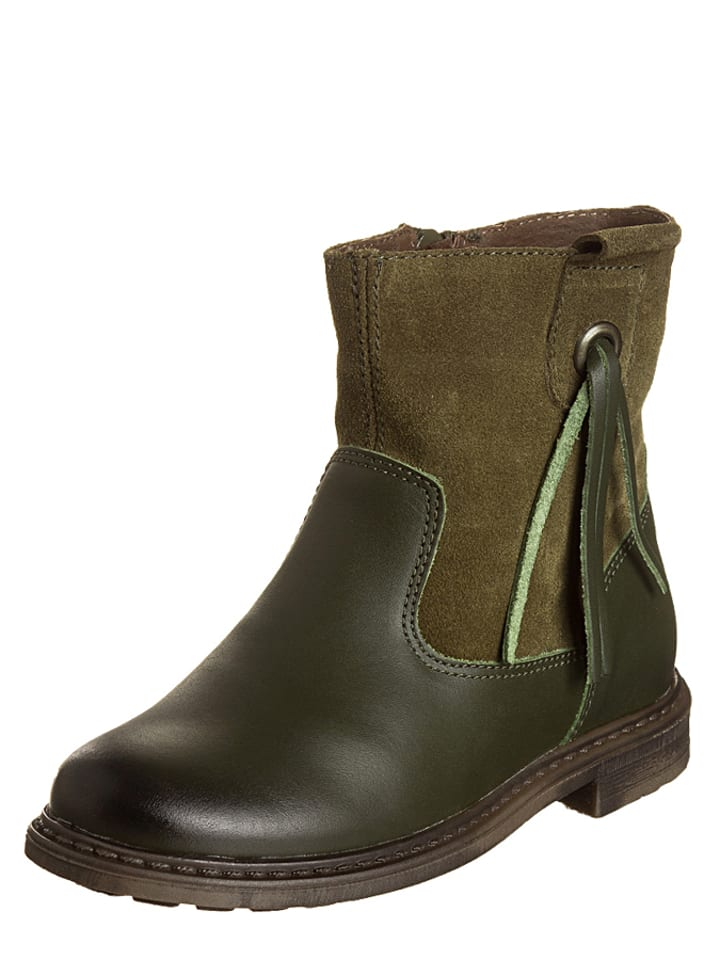Billowy Leren boots kaki