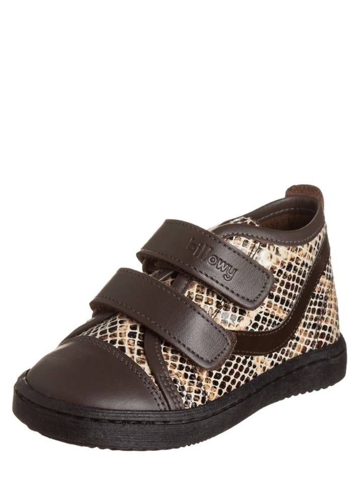 Billowy Leren sneakers donkerbruin/zandkleurig