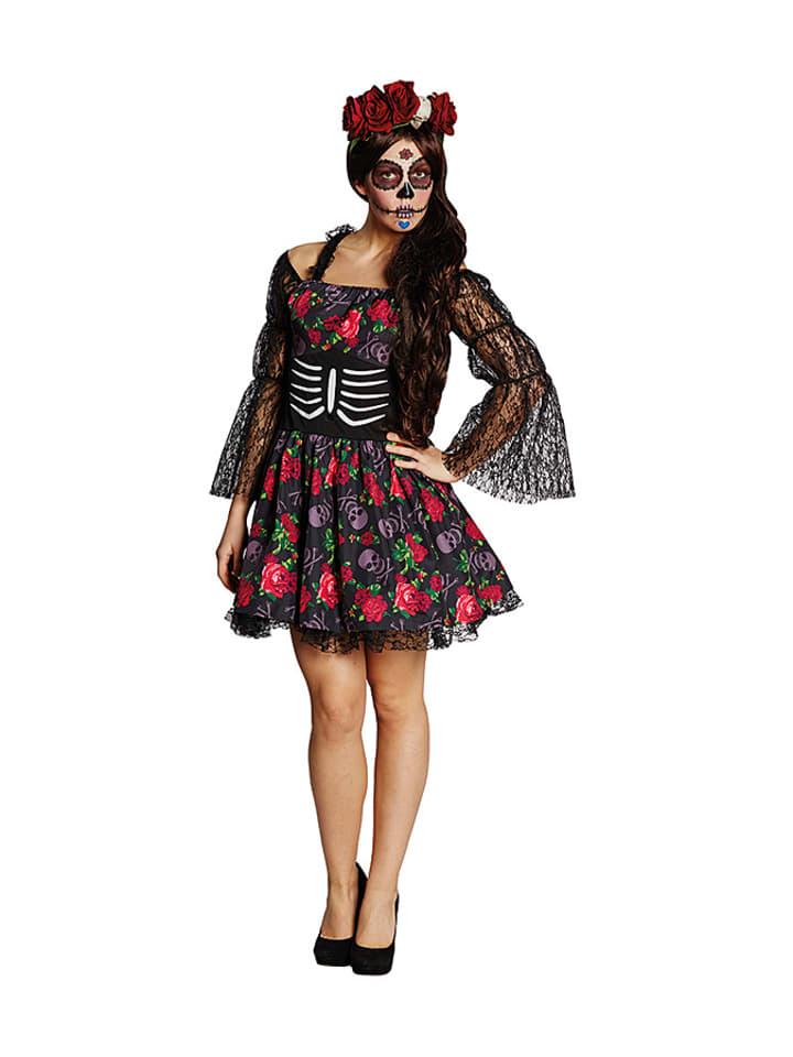 """Rubie`s Sukienka """"La Catrina"""" w kolorze czarno-czerwonym"""
