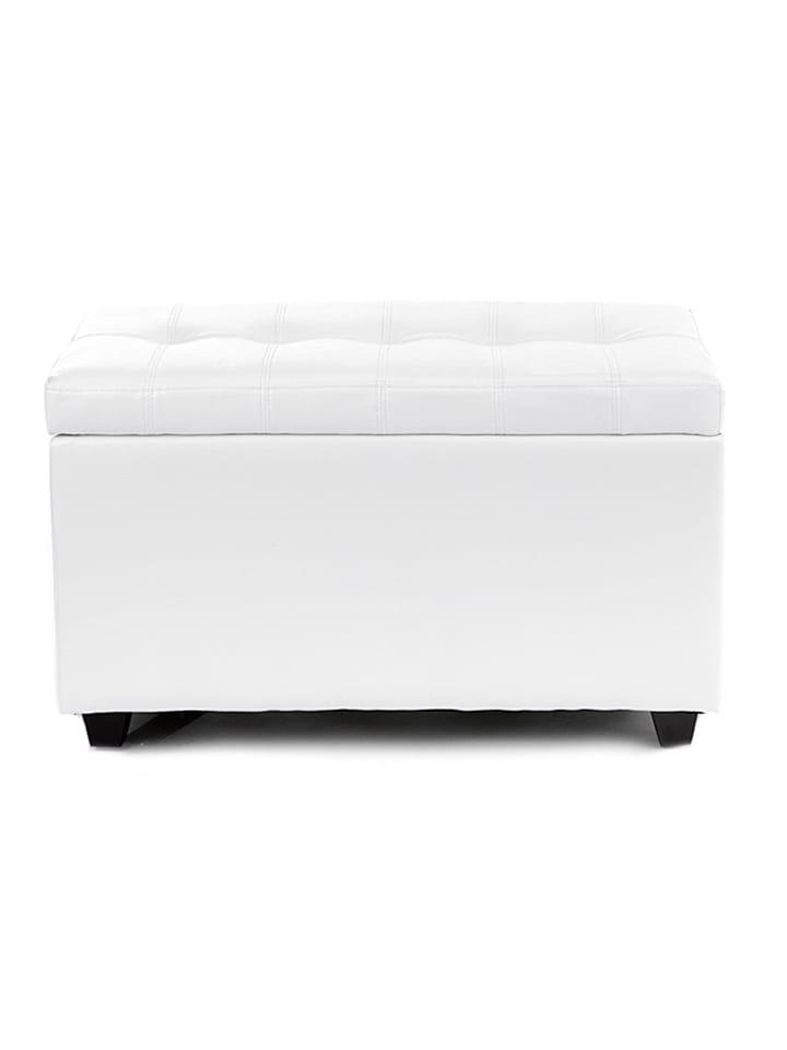 Dom z pomysłem Ławka w kolorze białym ze skrzynią - (S)80 x (W)46,5 x (G)43,5 cm