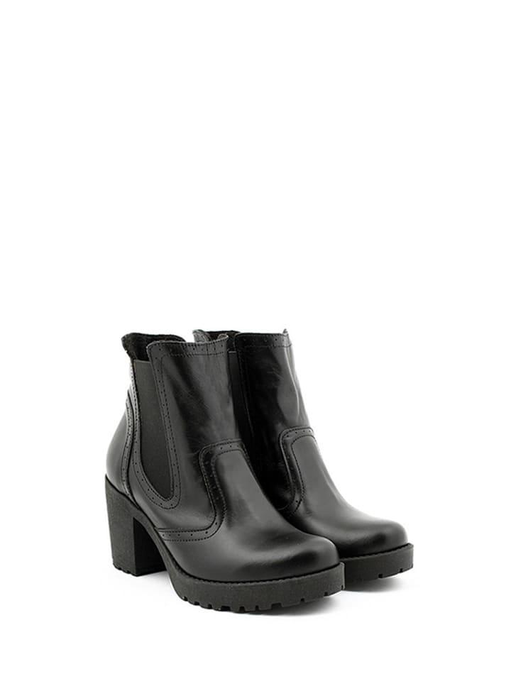 Zapato Skórzane sztyblety w kolorze czarnym