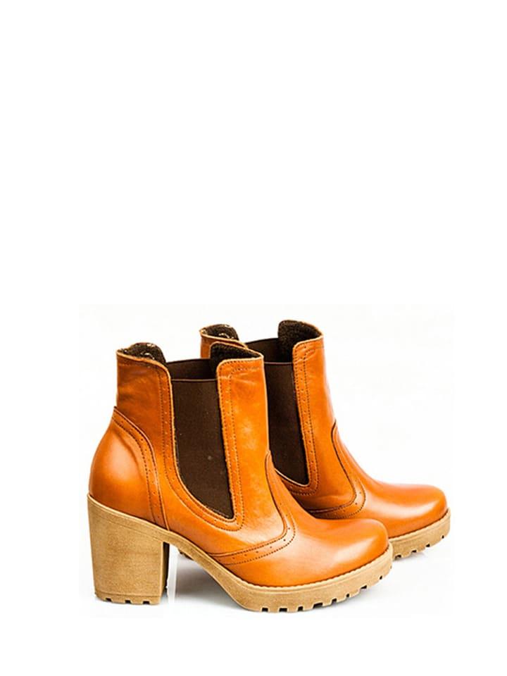 Zapato Skórzane sztyblety w kolorze brązowym