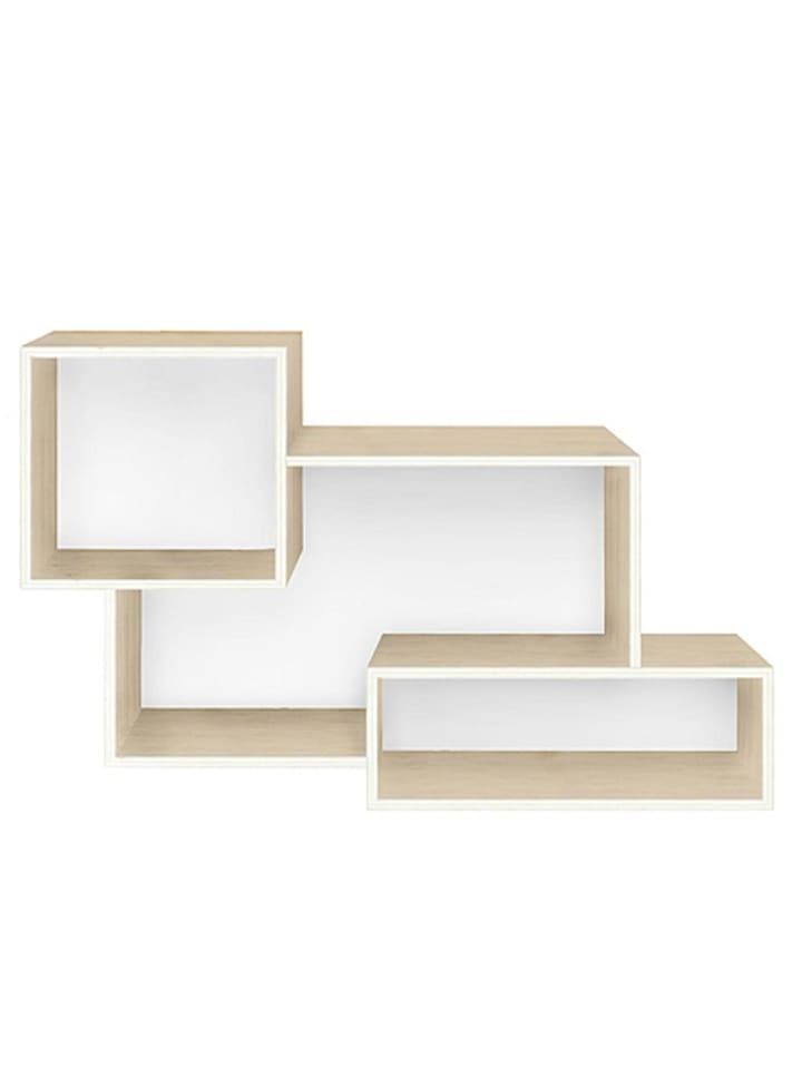 Really Nice Things Regał ścienny w kolorze biało-jasnobrązowym - 60 x 37 x 16 cm