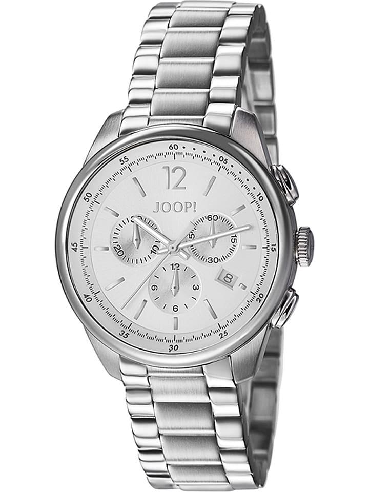 """JOOP! Chronograf """"Observer"""" w kolorze srebrno-białym"""