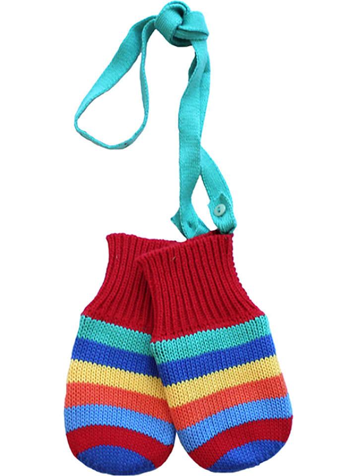 Toby Tiger Rękawiczki w kolorze czerwonym ze wzorem
