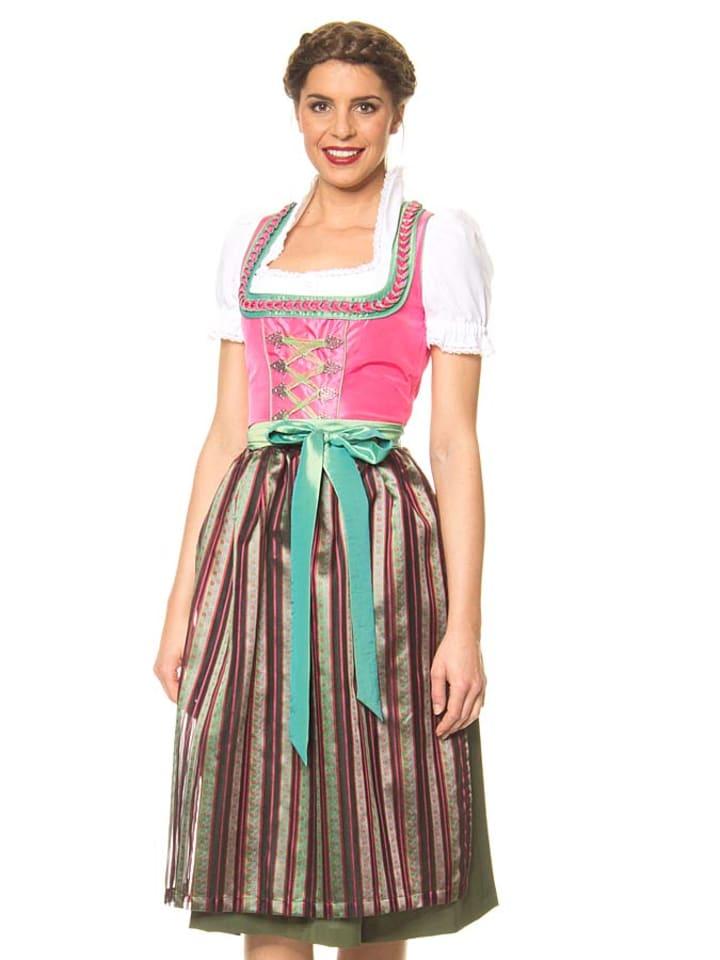 """LEKRA Midi-Dirndl """"Heinsee"""" in Pink/ Grün"""