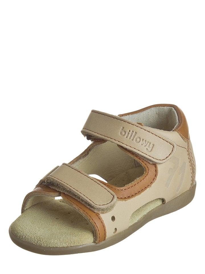 Billowy Skórzane sandały w kolorze beżowym