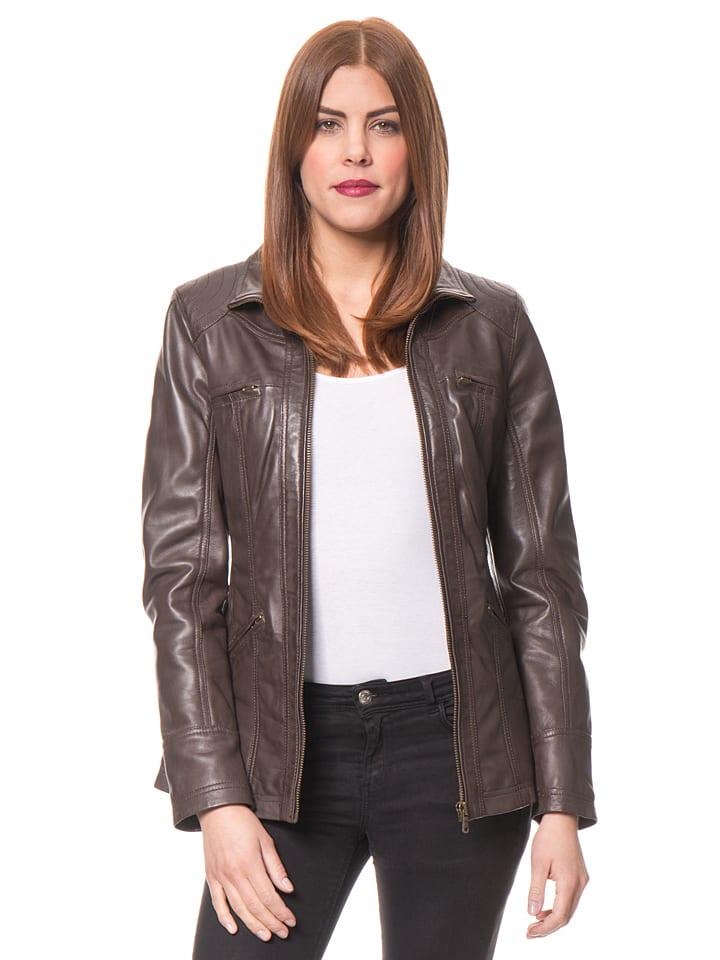 HELium Skórzana kurtka w kolorze brązowym