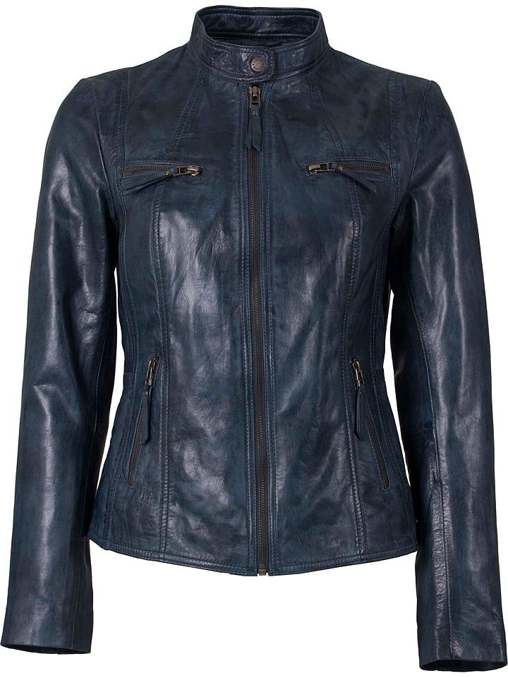 HELium Skórzana kurtka w kolorze niebieskim