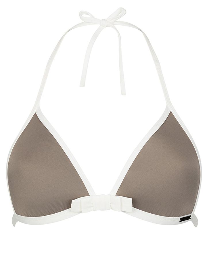 "Sapph Bikini-Oberteil ""Zanzibar"" in Taupe/ Weiß"