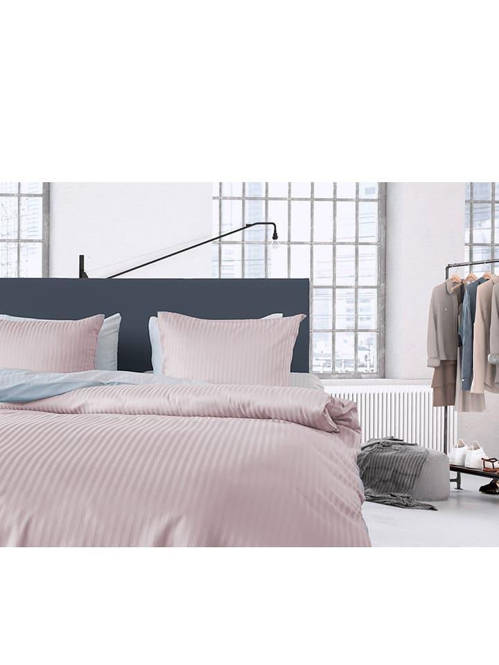 "HNL Satijnen beddengoedset ""Uni Stripe"" rosé"