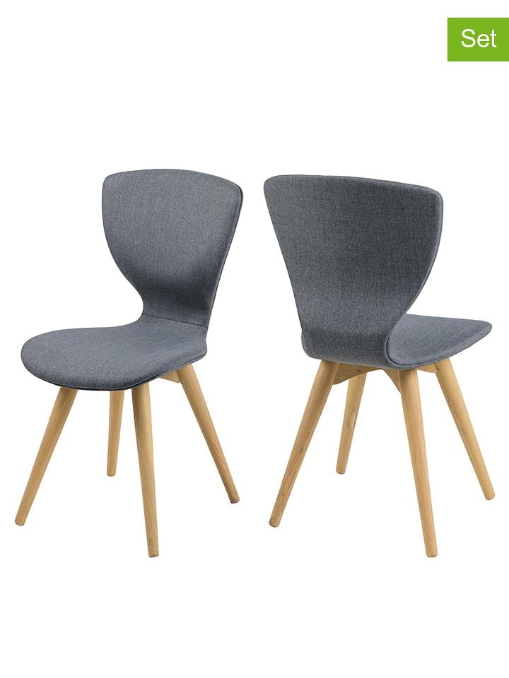 """AC Design Krzesła (2 szt.) """"Gongli"""" w kolorze antracytowym - 44 x 87 x 49 cm"""