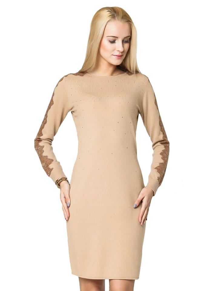 Deni Cler Sukienka w kolorze jasnobrązowym