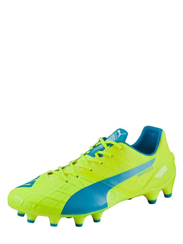 """Puma Chaussures de foot avec crampons """"evoSPEED 1.4 FG"""" - lime/bleu clair"""