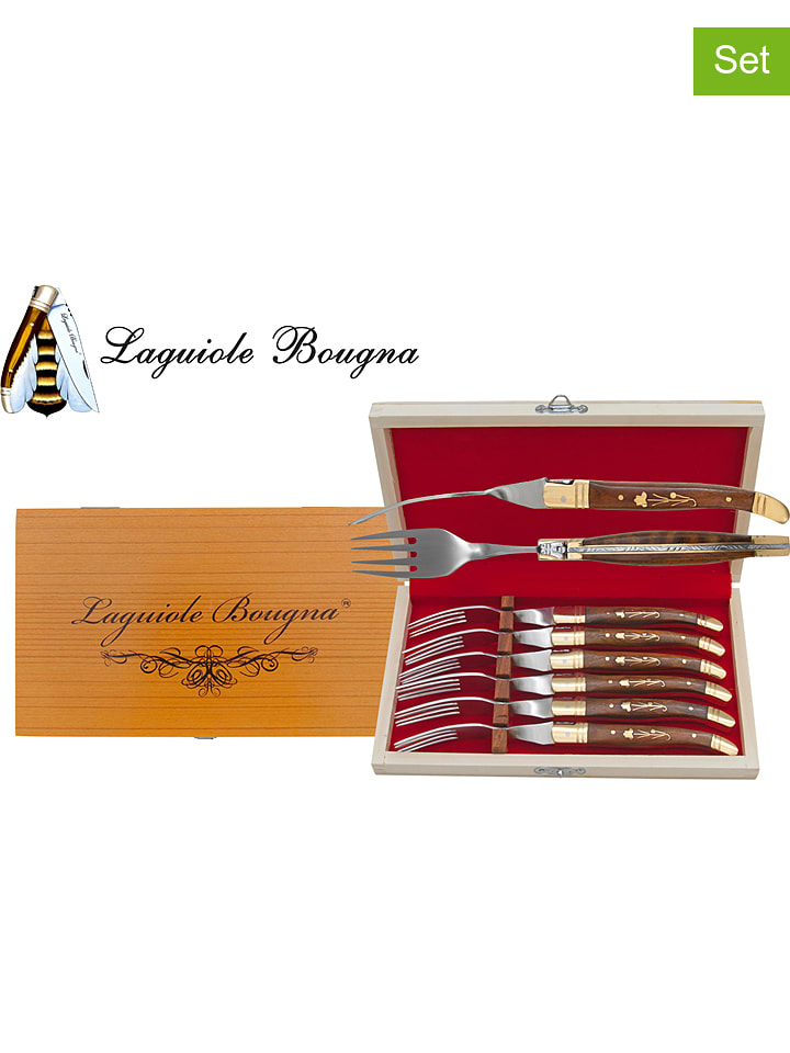 Laguiole Bougna 6-delige set: vorken palissander