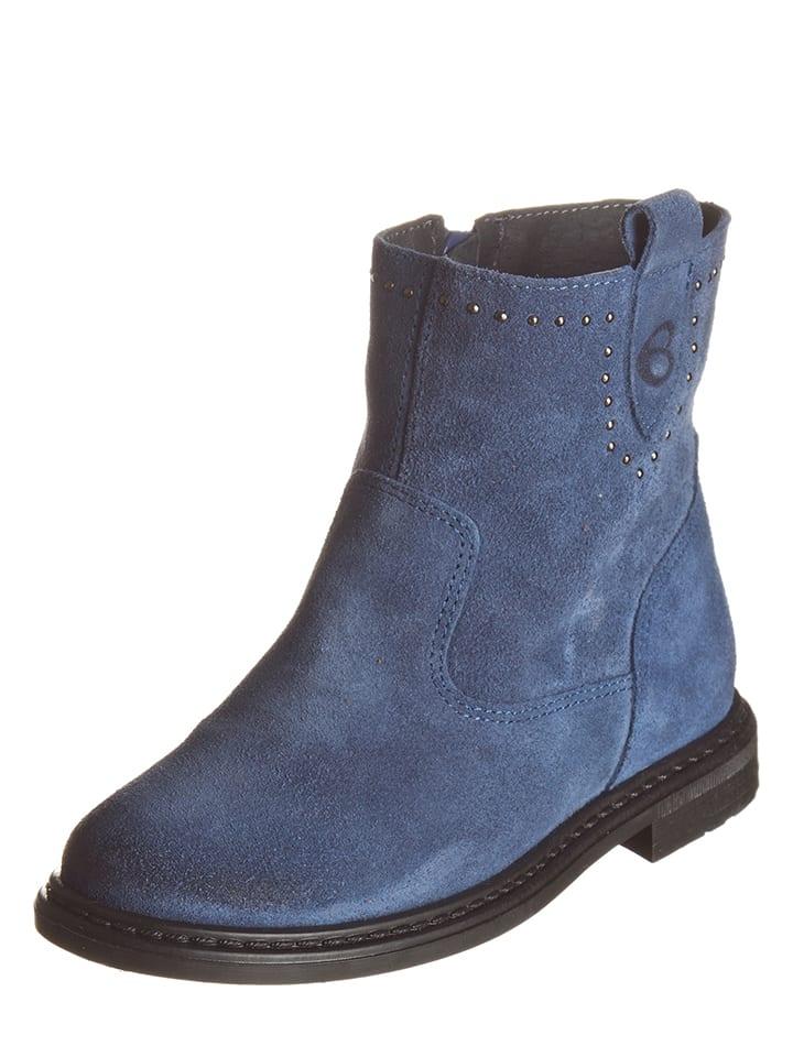 Billowy Skórzane botki w kolorze niebieskim